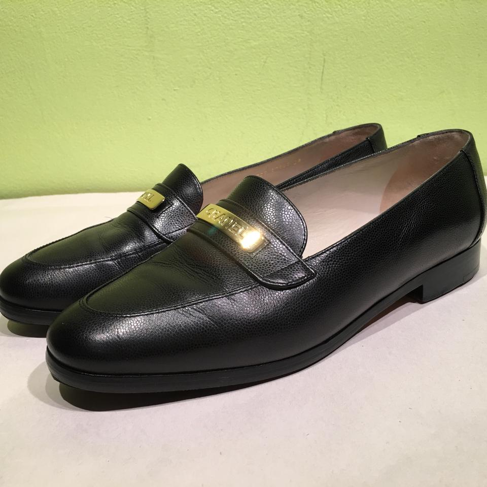 0ffd4de4a2d Chanel Black 39 Vintage Slip On Loafers with Gold Plate Flats Size ...