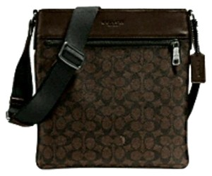 Coach Cross Body File Signature Brown and black Messenger Bag