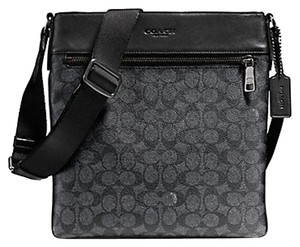 Coach Cross Body File Signature Black and smoke grey Messenger Bag