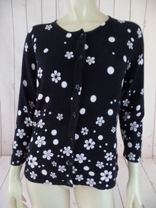 Talbots Floral Cotton Nylon Blend Button Front Cardigan Sweater