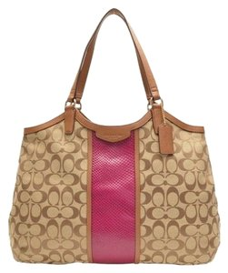 Coach Snakeskin Saddle Khaki Cherry Shoulder Bag