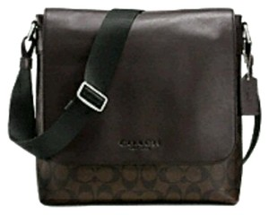 Coach Cross Body File Signature Black and brown Messenger Bag