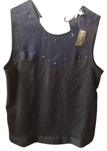 American Eagle Outfitters Sheer Studded Embellished Top Navy Blue