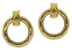 Chanel Chanel Vintage Quilted Hoop Clip On Earrings
