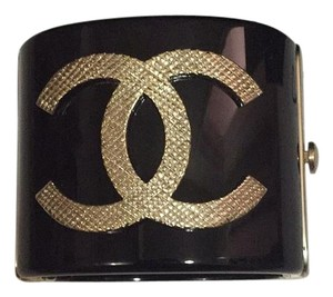 Chanel Golden Black Cc Logo Bracelet