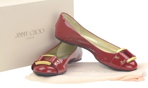 Jimmy Choo Gold Buckle Morse Leather New Red patent Flats
