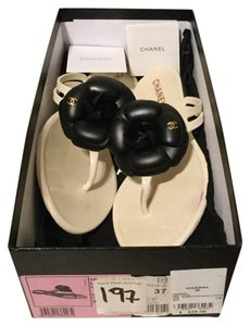 Chanel Saks Fifth Avenue Ivory,Black Sandals