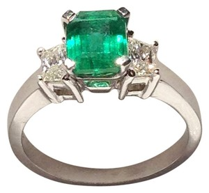 Other Custom Designed Emerald Cut Emerald & Trapezoid Diamond Ring in Platinum - Appraised at $10K