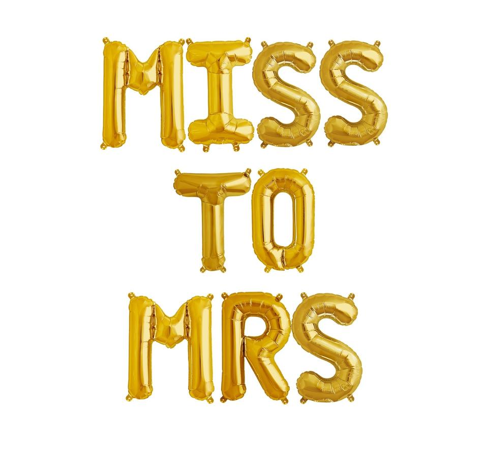 gold 16 miss to mrs mylar letter balloons bride bridal party balloon party centerpieces table ceremony decoration