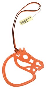 Hermès Hermes Large Orange Horse Swift Leather Bag Charm