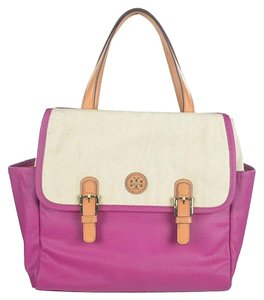 Tory Burch Tote in Natural and Fuchsia