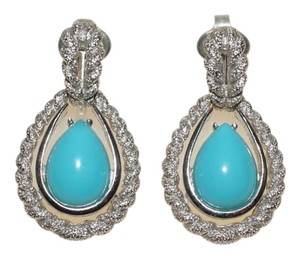Avon Vintage Avon Silver Tone Rope Teardrop Turquoise Lucite Chandelier Clip Earrings