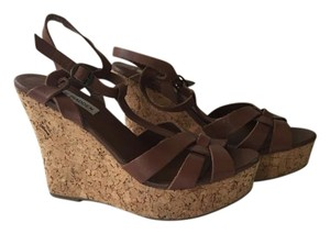 Steve Madden Leather Brown and Cork Wedges