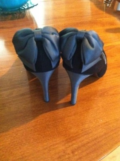 Lela Rose for Payless Bows 3-4inch Heal Black and Silver Pumps