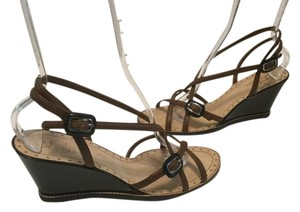 Cole Haan All Leather Criss Cross Straps Double Ankle Straps Brown and black Wedges