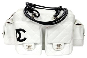 Chanel Celine Vuitton Graffiti Runway Satchel in White