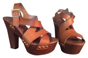 Mossimo Supply Co. Leather Rivets Strappy Chunky Cognac Sandals