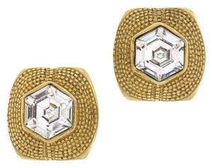 Chanel Chanel Vintage Gold Rhinestone Square Earrings