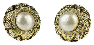 Chanel Chanel Vintage Pearl Rhinestone Clip On Earrings