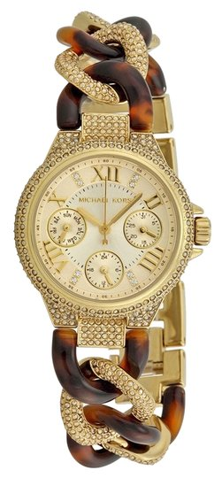 Michael Kors Michael Kors Champagne Dial Gold-tone Crystal Encrusted Twist Tortoise Shell Ladies Watch