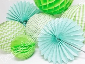 Apple Green Combination Round Hanging Decoration Paper Lantern Fan Honeycomb In Assorted Patterns.