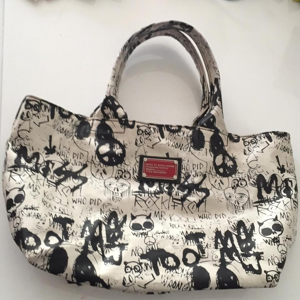 518b9bc5b Marc by Marc Jacobs Graffiti Supply White with Black Print Pvc Coated Canvas  Tote - Tradesy