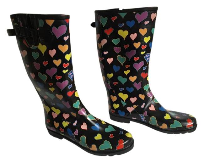 Item - Black with Yellow Blue Red Pink Purple and Green Hearts Boots/Booties Size US 10 Wide (C, D)