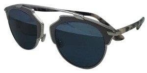 Dior New CHRISTIAN DIOR Sunglasses DIORSOREAL/L P7Q8N Silver & Grey Leather Frame w/ Blue Lenses