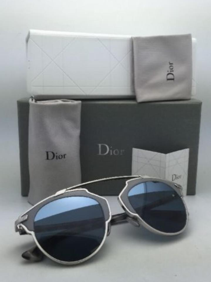 b280046f4ef0 Dior Diorsoreal L P7q8n Silver   Grey Leather Frame W  Blue New Christian  Diorsoreal L W  Lenses Sunglasses - Tradesy