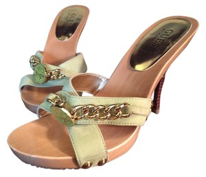 Guess By Marciano Gold Chain Strappy Suede Spring Green Sandals
