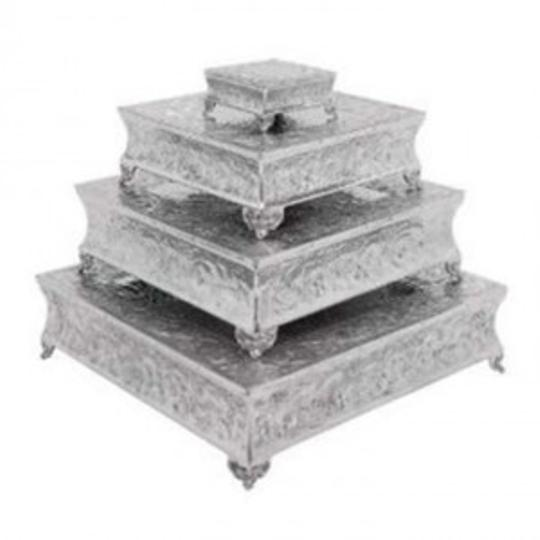 Silver Rustic Aluminum Square Cake Set/4 New Other