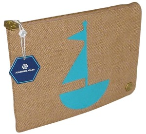 JONATHAN ADLER Canvas Sail Boat Beige Clutch