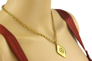 Chanel Chanel Gold Diamond Shaped CC Pendant Necklace