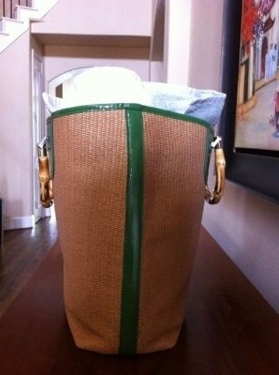 Talbots Spring Tote in Tan/Grass Green