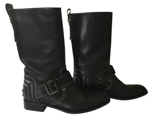 Tod's Midcalf Leather Buckle Black Boots