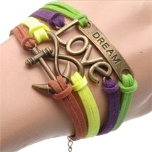 Ye Stylish Love ~ Dream ~ Infinity ~ Anchor Suede Bracelet
