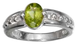 STERLING SILVER OVAL PERIDOT RING WITH BEADED BAND