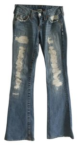 True Religion Distressed Distressed Wash Bell Bottom Flare Leg Jeans-Distressed