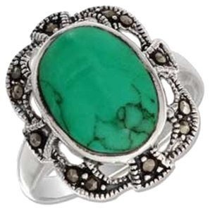 Other Sterling Silver 10X14MM Oval Turquoise With Filigree Marcasite Border Ring