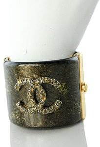 Chanel * Chanel Resin and Multi colored Rhinestones Clamper Cuffs
