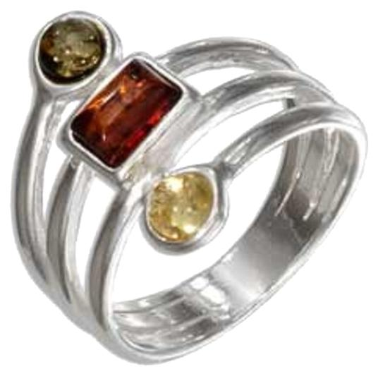 Other Sterling Silver Multicolor Amber Shapes Four Band Ring