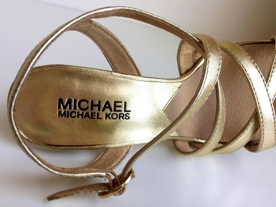 Michael Kors Open Toe Wedding Evening Stiletto Gold Formal Image 2