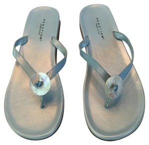 Kenneth Cole Leather Thong Shell Reaction Blue Sandals