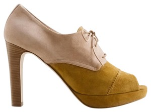 J.Crew Oxford Suede Peep Toe Stacked Heel Pumps