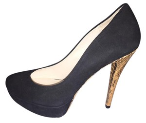 Michael Kors Stiletto Snakeskin Suede Black Suede Pumps