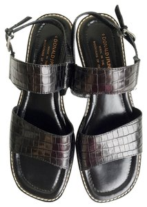 Donald J. Pliner Moc Croc Open Toe Italy Ankle Strap J. Black Sandals