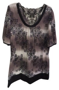 dressbarn Lace Print Top Black
