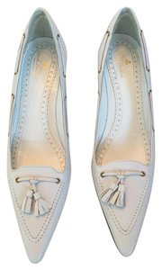 Brooks Brothers Classic Leather Tassels Like New White Pumps