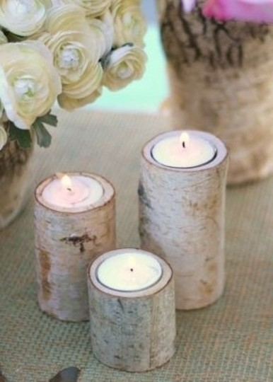 White 75 Pices Natural Wood Birch Holders Votive/Candle
