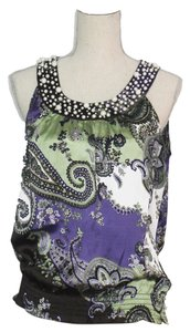 Signature by Larry Levine Top Purple/Black Multi Pasley